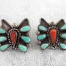 Zuni Butterfly Earrings OLD Turquoise Coral Sterling Posts