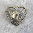 Sterling Bird in Heart  Pin Coro Like Jensen Vint Book Pc