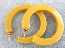 Bakelite Hoop Earrings Creamed Corn Mustard Butterscotch Chunky Pierced Posts Vintage