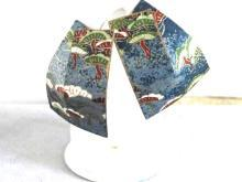 Japanese Paper Earrings Vintage Handcrafted Signed