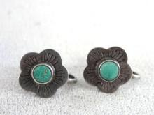 1930s Turquoise Flower Earrings Sterling Chunky