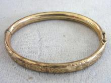 1940s Germany Bracelet Etched Hinged Locking Signed