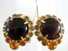 HOBE Rhinestone Earrings Topaz Prong Set Vintage