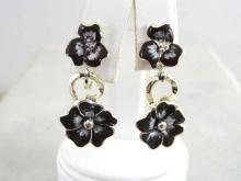 Double Pansy Drop Earrings Vintage Enamel So Pretty