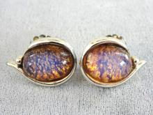 Jelly Opal Earrings Dragon's Breath Fire Vintage