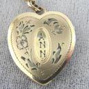 ANN Sweetheart Locket Etching Chain Gold Filled L Mfg Vintage