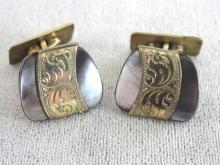 AmeriKaner Etched Cuff Links Black Mother of Pearl Beautiful
