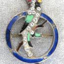Art Deco Parrot Pin 1930s Enamel Rhinestones Beauty!
