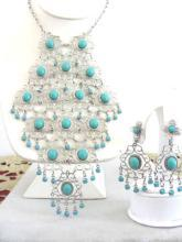Turquoise Blue Bib Set Cascading Necklace Earrings Filigree Vintage Demi