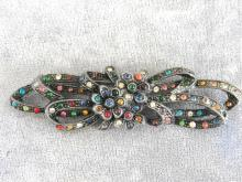 CZECH Antique Brooch Pin Pot Metal Multi Color Paste Large 3 1/2 Inches