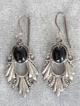 Beautiful Black Onyx Sterling Silver Granulation Pierced Earrings Vintage