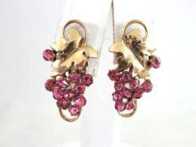 Lisner Pink Rhinestone Earrings Elegant