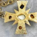 Maltese Cross Pendant Chain Stones  Nice