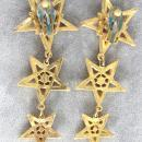 Fabulous 3 Star Earrings Rhinestones Vintage 3 1/2 Inches Long!