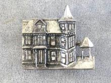 Sterling Victorian House Pin Massachusetts