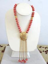Faux Angel Skin Coral Bead Necklace Pendant Drops Vintage