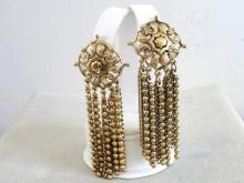 Chain Swag Earrings Vintage Royal Openwork 3.5 Inches