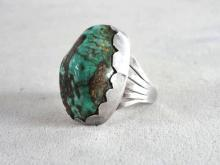 Huge Turquoise Sterling Ring Silver Native American Old