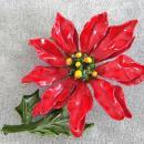 Large Poinsettia Flower Pin Brooch 2 3/4 Inches Christmas Vintage