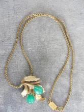 Christian Dior Gold Filled Necklace Pendant Green Moonglow Vintage