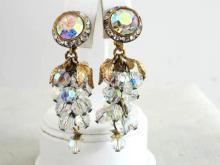 Aurora Borealis Crystal Earrings Dangles Loaded Long Vintage Gorgeous!
