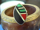 Zuni Inlay Ring,Signed,Sterling,Semi-Prec