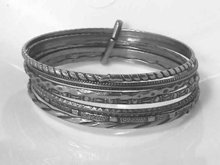 Ornate Art Deco 7 Ea Sterling Bangles,Bracelets