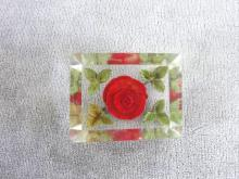 Lucite Rose Pin Rectangular Reverse Carved Vintage