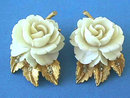Ivory Rose Earrings,Faux,Gorgeous,R/Ss,Signed