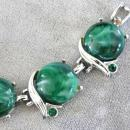 Green Marble Thermoset Bracelet Rhinestones Silver Vintage