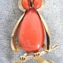 Crown Trifari Owl Pin Coral Belly Eyes!