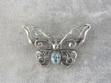 Sterling Topaz Butterfly Pin Blue Openwork Signed