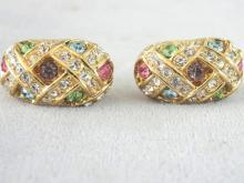 Vintage Joan Rivers Earrings Pastel Rhinestone Earrings Beautiful