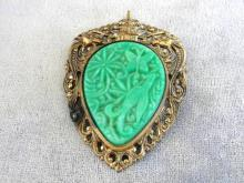 Ornate Brass Pin Pendant Celluloid Resin Insert Green Figurals Vintage