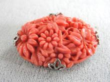 1930s Coral Celluloid Chrysanthemum Pin Prong Set Chrome