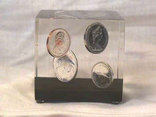 Lucite Coins Paperweight,Canadian,4 Coins,1867-1967