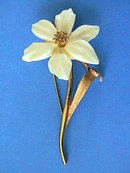 Marcel Boucher Ivory Flower Pin,3 in,Narcissus,Vint,Stunning!