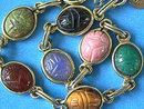 Goldfilled Scarab Bracelet,Vintage,7 Gen Stnes