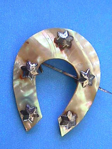 Victorian Horseshoe Pin,Stars,OLD,MOP
