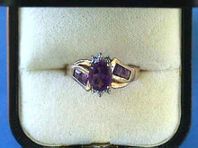 Amethyst Diamonds Gold Ring,14K,Stunning!