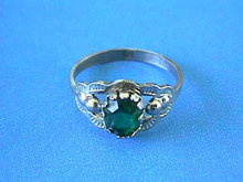 Deco Green Ring,Stone,Silver,Vintage
