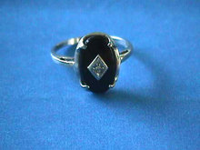 Onyx,Diamond Ring,10K WHITE Gold,Vintage