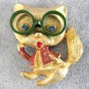 JJ Cat Pin Glasses Jacket Vintage Book Piece Precious