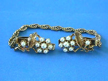 Pretty Sweater Clip,Floral,Pearls,Vintage