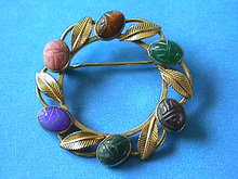 Van Dell Scarabs Pin Gold Filled Stones Nice!