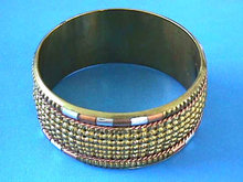 Wide Bangle,Mixed Metals,Texture,Vintage