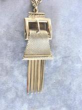 Whiting Davis Buckle Pendant Necklace Fringe Beautiful Vintage Gold Tone