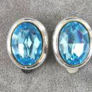 Electric Blue Earrings Rhinestones Vintage Large Gorgeous