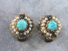 Vintage Western Germany Turquoise Blue Filigree Earrings Round