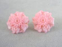 Early Plastic Earrings Pink Molded Adjustable Screw Backs Vintage
